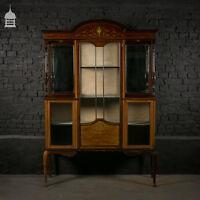 Edwardian Inlaid Mahogany Display Cabinet with Key