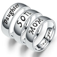 Titanium Steel Mother Daughter Son Love Thumb Finger Mom Family Ring MP