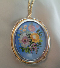VINTAGE HAND PAINTED FLOWERS ON A CAMEO PENDANT  /NECKLACE 800 W/  GOLD FILLED
