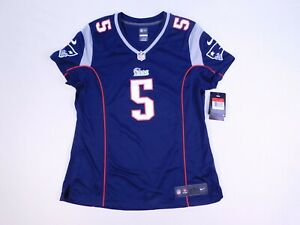 Nike On Field Jersey Womens Patriots Tebow #5 Authentic V Neck Size Large Blue