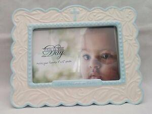 "NWOT Baby Boy Christening Photo Frame ""Christened In Faith"" Ivory & Blue Ceramic"