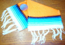 Serape Blanket Large Orange & Blue 1:12 Dollhouse Mexican Miniature Rug Carpet