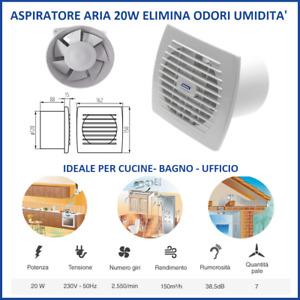 aspiratore aria da muro parete ventola 120 elimina odori per bagno cucina casa