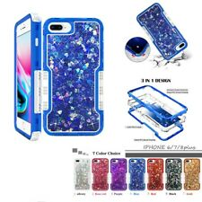 For iPhone XR Xs Max 6 7 8 Plus 3 in 1 Liquid Glitter Quicksand Heavy Duty Case