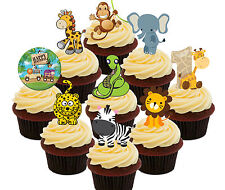 1st Birthday Jungle Zoo Animals Edible Cup Cake Toppers 36 Fairy Decorations Kid