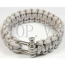 550 Paracord Parachute Cord Military Survival Bracelet Camping Metal shackle #4