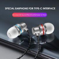 Type C USB-C Stereo In-Ear Earphone Headset Super Bass Headphone Earbuds Wth Mic