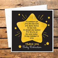 Personalised Thank You Teacher Card Nursery Nurse Male Female Star Shine Lucky