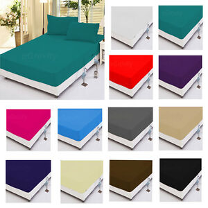 Fitted Sheets Extra Deep Bed Sheets for Mattress Single Double King Sking