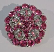 Pink and Clear Crystals Crystal Silver Tone Flower Brooch,