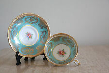 Antique1930's Paragon Turquoise blue Gold with pink roses cup & saucer (123)