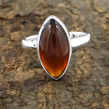 Hessonite Gomed Ring - 925 Sterling Silver Hessonite Marquise Shape Ring Size 6