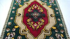 "Antique Turkish vintage handmade hand-knotted thick rug 79""x 88""  pure wool #86C"