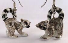JE112 - Ring Tailed Lemur  Earrings - Surgical Steel Porcelain Dangle