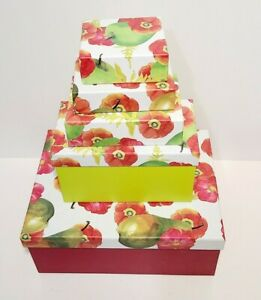 Decorative Nesting Boxes Set of 5 Flowers  Apples Gift Boxes