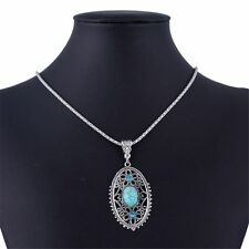 Blue Oval Hollow Out Tibet Silver Pendant Turquoise Blue Stone Chain Necklace