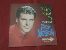 RICK NELSON~ FOOLS RUSH IN~ DOWN HOME~ VG++~SLEEVE ONLY ~ TEEN 45