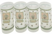 Set Of 4 Vintage Precidio Tumblers Frosted Plastic Herb Design Green Gardening