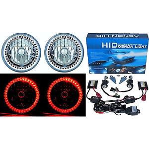 """7"""" HID Red Split LED Halo Ring Angel Eye Headlight 6000K 6K Light Lamp Bulb Pair"""