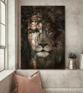 Jesus And Lion The Perfect Combination Portrait Canvas