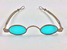Antique 19th century brass sunglasses eye glasses blue lens hand made
