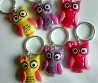Owls 6x Knitting stitch markers will fit up to 10mm needles