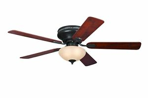 """Flush mount Ceiling fan with lights and pull cords Everett Espresso 132 cm 52"""""""