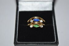 14ct Yellow Gold Fancy Blue & Green Ring