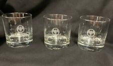 Bacardi Rum Rock/Lowball Glass Set Of 3 Etched Bat Logo Barware. Good Condition!