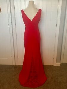 QUIZ RED FISHTAIL LACE LONG  MAXI EVENING OCCASION DRESS GOWN SIZE 12 Not Sequin