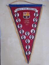 LARGE VINTAGE CLUB DE FUTBOL BARCELONA FOOTBALL PENNANT 1971 CAMPIO DE COPA