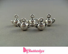 5 Silver Plated Teapot Charms, 12mm x 10mm Jewellery Making Crafts Tea party
