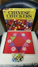 Vintage Chinese Checkers Board Game w Glass Marbles GOLDEN # 4717-5