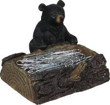 Bear Paper Clip Holder New Desk Office Black Tree Poly Resin Design