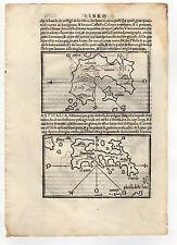 GREECE BORDONE 1547 MAP OF PATMOS ASTYPALAIA KALYMNOS LIPSI 4 MAPS IN ONE SHEET