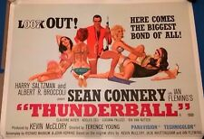 JAMES BOND - THUNDERBALL  1965  ORIGINAL UK  QUAD  CINEMA POSTER-LINEN BACKED