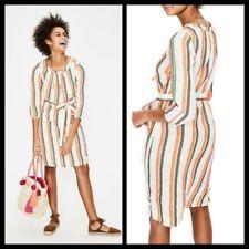 Boden Women Tall Size Katie Striped Peasant Dress Size 16
