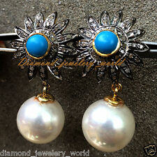 Turquoise Pearl Earring Danglers Jewelry Victorian 1.93cts Pave Rose Cut Diamond