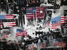 NYC NEW YORK CITY FAMOUS LANDMARKS USA FLAG COTTON FABRIC BTHY