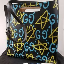 Gucci Ghost Black, Yellow, Blue Leather Graffiti Tote Bag