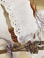 2 Metres x Quality White Cotton Broderie Anglaise Flat Lace *FREE 1ST CLASS*