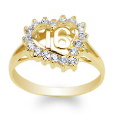 JamesJenny Womens 14K Yellow Gold Round CZ Sweet 16 Heart Ring Size 4-9