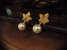 Vintage Gold Ivy Leaf with Pearl Drop Pierced Earrings