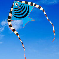 BLUE 1.2m High Quality Outdoor Fun Sports Animal Fish Kites with handle for kids