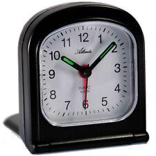 Atlanta réveil de voyage noir quartz analogue réveil au pliant étui 1267/7 NEUF