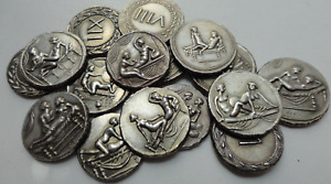 Ancient Roman Coins, Caligula Coins, Erotic Coins, Brothel Coins - 16 Pcs Coins