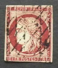 FRANCE 1849 1fr carmine Ceres 4 margin imperf, grille cancel SG 19