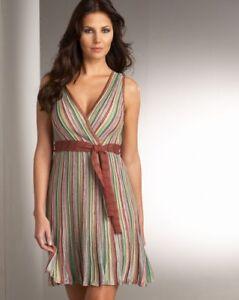 100%authentic M Missoni Vertical Stripe Surplice dress 42/6