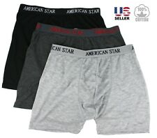 Lot 3 Mens Boxer Briefs Trunks Shorts Underwear Cotton Stretch Size S-2XL Pack