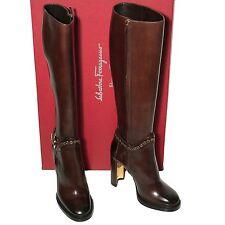 Ferragamo Women's NADIX Knee Boot Brown 6 36.5 Leather Gancini Harness Strap